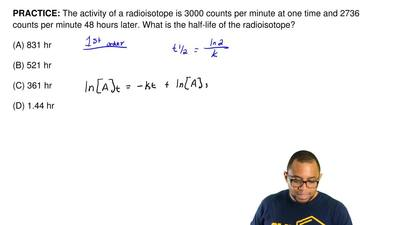 The activity of a radioisotope is 3000 counts per minute at one time and 2736 ...