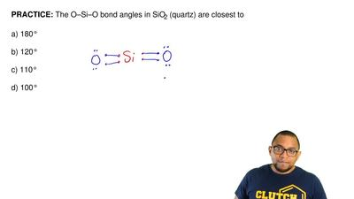 The O–Si–O bond angles in SiO2 (quartz) are closest to   a) 180°  b) 120°  c) ...