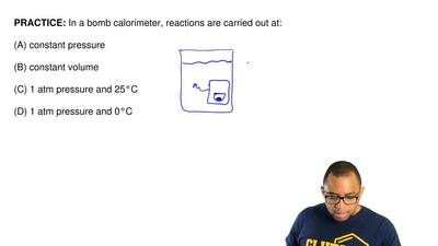In a bomb calorimeter, reactions are carried out at:  (A) constant pressure  ...
