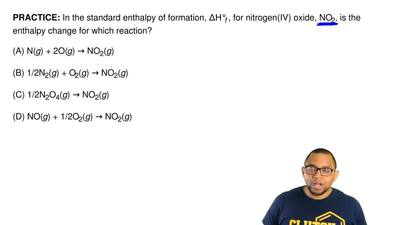 In the standard enthalpy of formation, ΔH°f , for nitrogen(IV) oxide, NO2, is ...