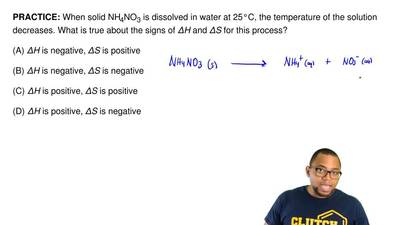 When solid NH4NO3 is dissolved in water at 25°C, the temperature of the soluti...