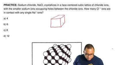 Sodium chloride, NaCl, crystallizes in a face-centered cubic lattice of chlori...