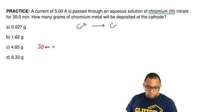 A current of 5.00 A is passed through an aqueous solution of chromium (III) ni...