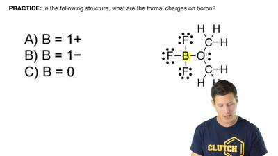 In the following structure, what are the formal charges on boron?  A.B = 1+ ...