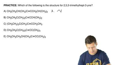 Which of the following is the structure for 2,5,5-trimethylhept-3-yne?  A) CH3...