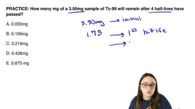 How many mg of a 3.50mg sample of Tc-99 will remain after 4 half-lives have pa...