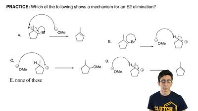 Which of the following shows a mechanism for an E2 elimination? ...