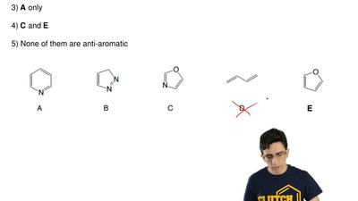 Which of the following compounds are  anti-aromatic?  1) B and D  2) A and C  ...