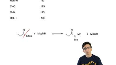 Consider the formation of an amide from an ester.   An estimate of the overall...