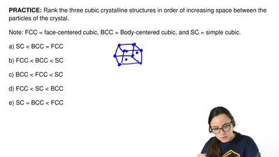 Rank the three cubic crystalline structures in order of increasing space betwe...