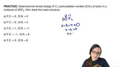 Determine the formal charge (F.C.) and oxidation number (O.N.) of sulfur in a ...