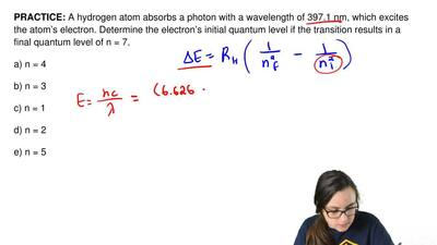 A hydrogen atom absorbs a photon with a wavelength of 397.1 nm, which excites ...
