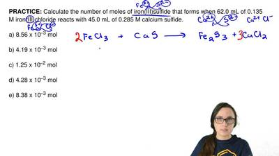 Calculate the number of moles of iron(III)sulfide that forms when 62.0 mL of 0...