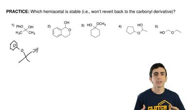 Which hemiacetal is stable (i.e., won't revert back to the carbonyl derivative...