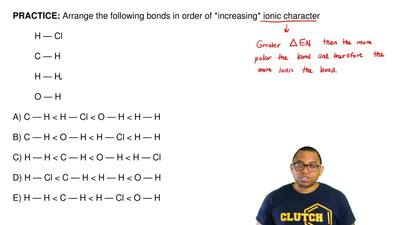 Arrange the following bonds in order of *increasing* ionic character  H—Cl  C—...