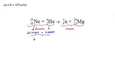 How much energy is released in the following nuclear reaction?  Mass of the 21...
