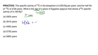 The specific activity of 14C in the biosphere is 0.255 Bq per gram, and the ha...