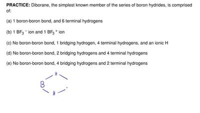 Diborane, the simplest known member of the series of boron hydrides, is compri...