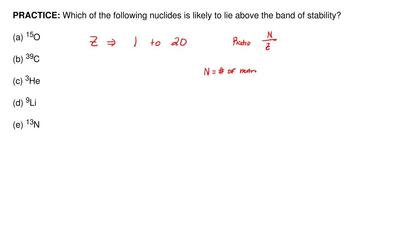 Which of the following nuclides is likely to lie above the band of stability? ...