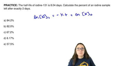 The half-life of iodine-131 is 8.04 days. Calculate the percent of an iodine s...