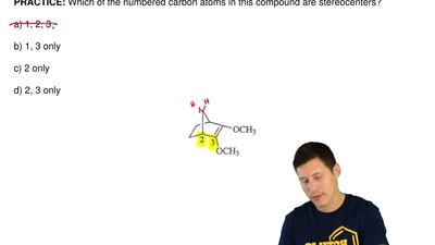 Which of the numbered carbon atoms in this compound are stereocenters?  a) 1, ...