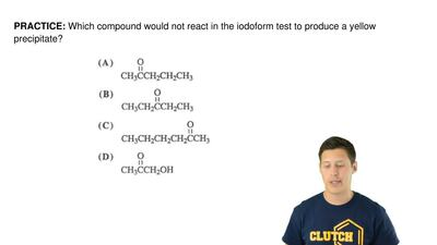 Which compound would not react in the iodoform test to produce a yellow precip...