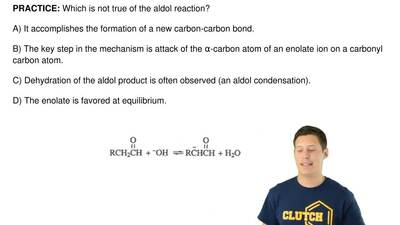 Which is not true of the aldol reaction?  A) It accomplishes the formation of ...