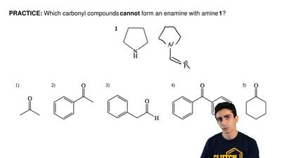 Which carbonyl compounds cannot form an enamine with amine 1? ...