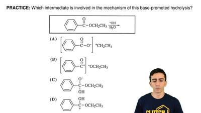 Which intermediate is involved in the mechanism of this base-promoted hydrolys...