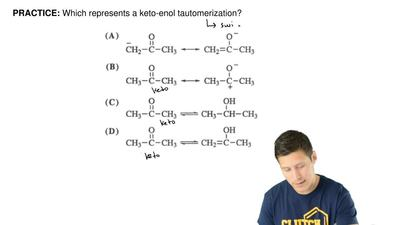 Which represents a keto-enol tautomerization? ...