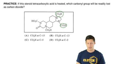 If this steroid tetracarboxylic acid is heated, which carbonyl group will be r...
