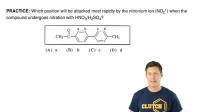 Which position will be attacked most rapidly by the nitronium ion (NO 2+) when...