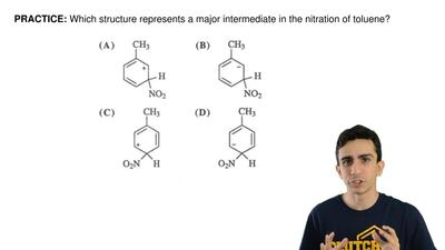 Which structure represents a major intermediate in the nitration of toluene? ...