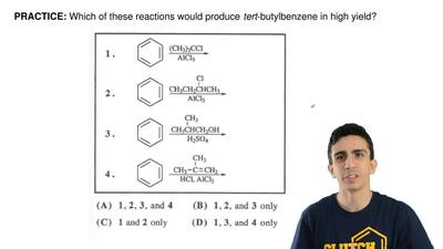 Which of these reactions would produce  tert-butylbenzene in high yield? ...