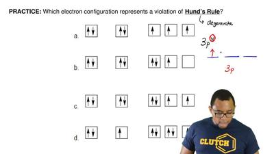 Which electron configuration represents a violation of  Hund's Rule?  ...