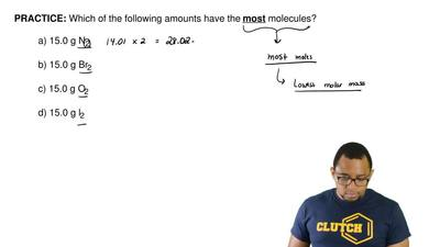 Which of the following amounts have the  most molecules?   a) 15.0 g N2  b) 15...