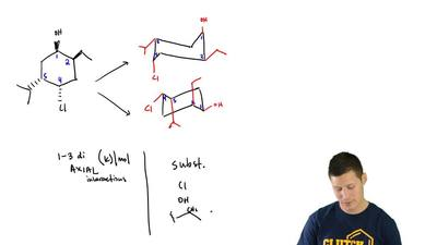Consider the following tetra-substituted cyclohexane:  (b) Determine which con...