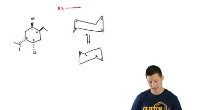 Consider the following tetra-substituted cyclohexane:  (a) Draw both chair con...