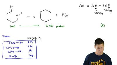 Consider the following reaction:  Determine the sign of ΔG, ...