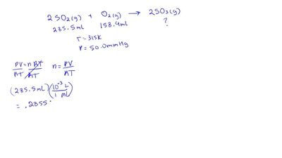 Consider the reaction:  2 SO2(g) + O2(g) → 2 SO3(g)  b. If 187.2 mL of SO3 is ...