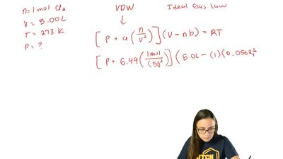 Use the van der Waals equation and the ideal gas equation to calculate the pre...