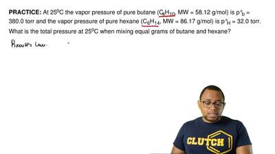 At 25oC the vapor pressure of pure butane (C4H10, MW = 58.12 g/mol) is p°b = 3...