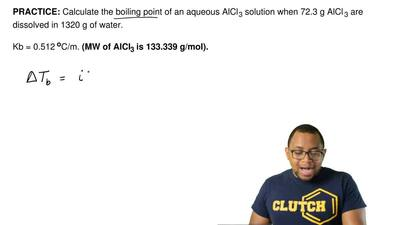 Calculate the boiling point of an aqueous AlCl3 solution when 72.3 g AlCl3 a...