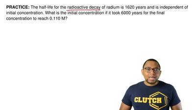 The half-life for the radioactive decay of radium is 1620 years and is indepen...