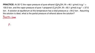 At 35°C the vapor pressure of pure ethanol (C2H5OH, M = 46.1 g/mol) is pE° = 1...