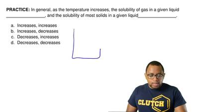 In general, as the temperature increases, the solubility of gas in a given liq...
