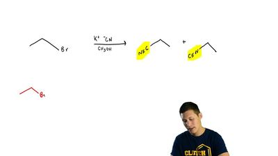 When ethyl bromide reacts with potassium cyanide in methanol, the major produc...