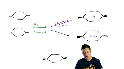 Two alkenes undergo hydrogenation to yield a mixture of cis - and trans -1,4- ...