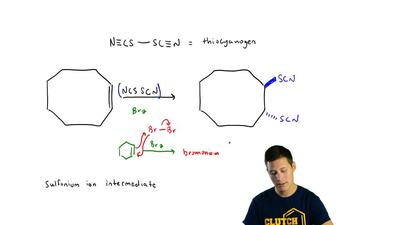 The reaction of thiocyanogen (N≡CS—SC≡N) with  cis -cyclooctene proceeds by an...