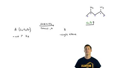 Compound A (C7H15Br) is not a primary alkyl bromide. It yields a single alkene...